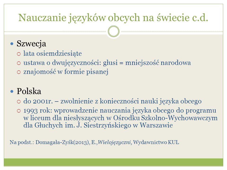 Nauczanie języków obcych na świecie c.d. Szwecja lata osiemdziesiąte ustawa o dwujęzyczności: głusi = mniejszość narodowa znajomość w formie pisanej P