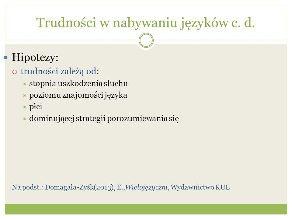 Trudności w nabywaniu języków c.d.