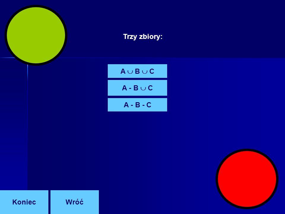 A B C A - B C A - B - C Trzy zbiory: KoniecWróć
