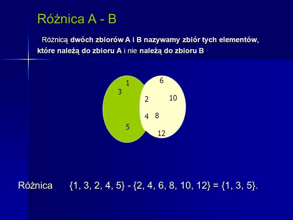 Różnica A - B Różnicą dwóch zbiorów A i B nazywamy zbiór tych elementów, które należą do zbioru A i nie należą do zbioru B 6 10 8 12 1 3 4 2 5 2424 Różnica {1, 3, 2, 4, 5} - {2, 4, 6, 8, 10, 12} = {1, 3, 5}.