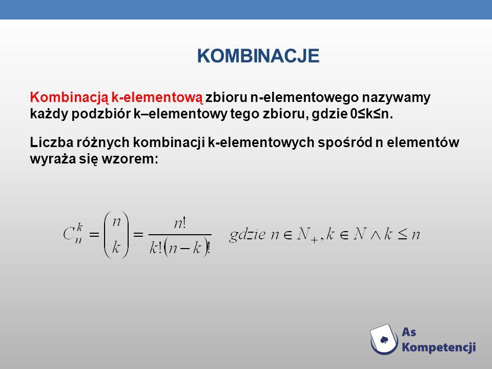 KOMBINACJE Kombinacją k-elementową zbioru n-elementowego nazywamy każdy podzbiór k–elementowy tego zbioru, gdzie 0kn. Liczba różnych kombinacji k-elem