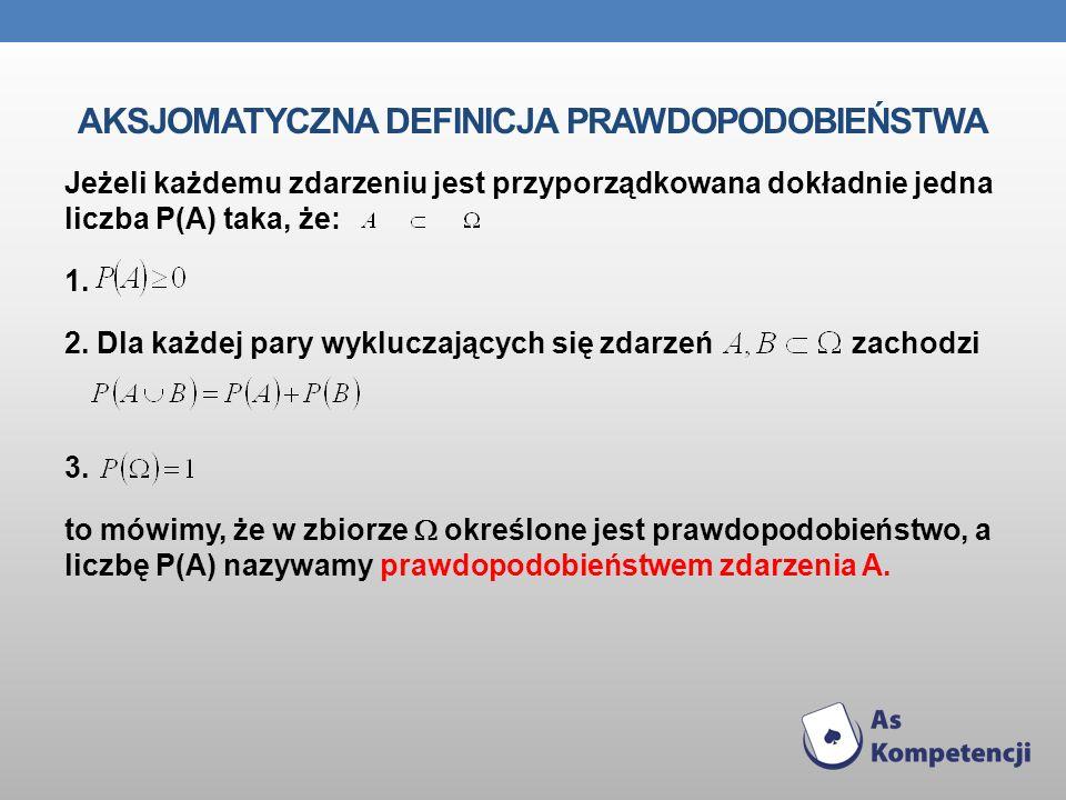 AKSJOMATYCZNA DEFINICJA PRAWDOPODOBIEŃSTWA Jeżeli każdemu zdarzeniu jest przyporządkowana dokładnie jedna liczba P(A) taka, że: 1. 2. Dla każdej pary