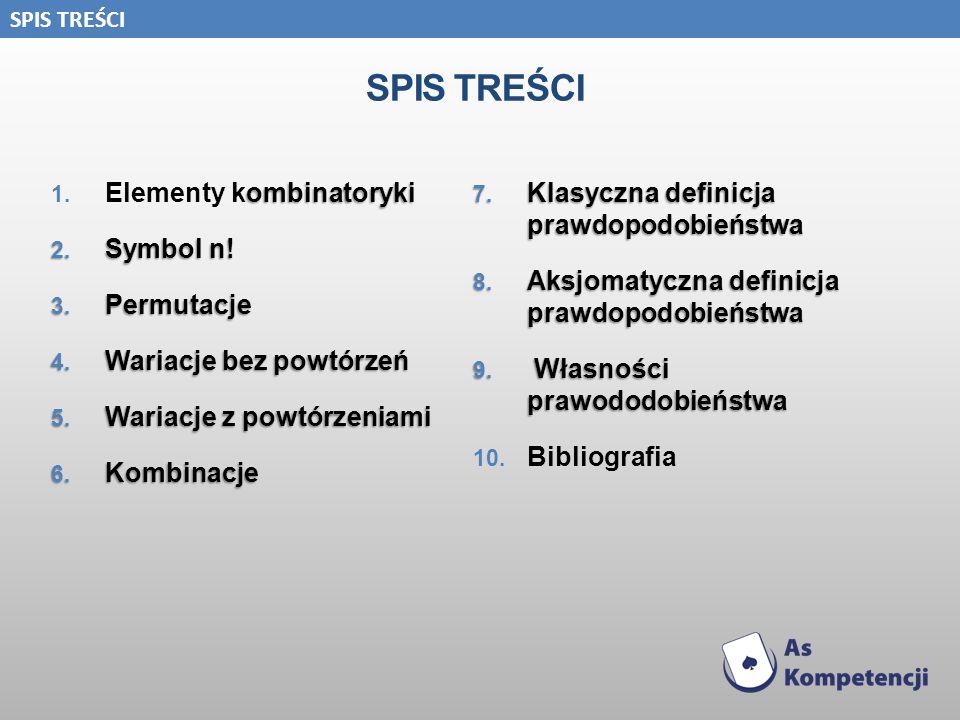 SPIS TREŚCI ombinatoryki 1. Elementy kombinatoryki 2. Symbol n! 3. Permutacje 4. Wariacje bez powtórzeń 5. Wariacje z powtórzeniami 6. Kombinacje 7. K