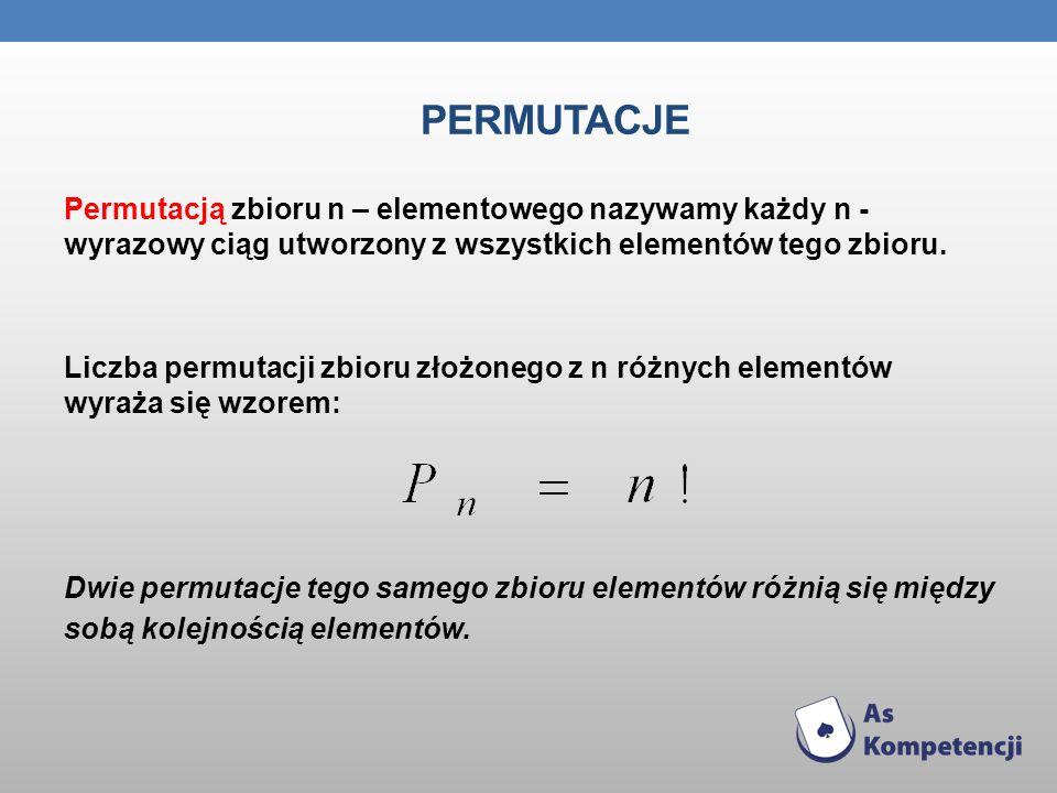 PERMUTACJE Permutacją zbioru n – elementowego nazywamy każdy n - wyrazowy ciąg utworzony z wszystkich elementów tego zbioru. Liczba permutacji zbioru