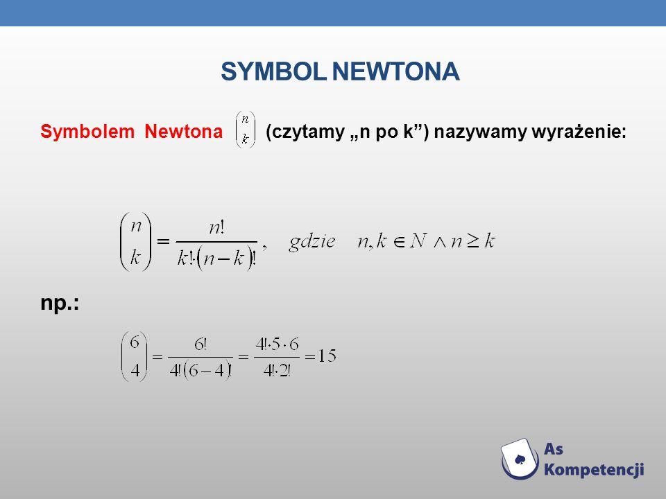 SYMBOL NEWTONA Symbolem Newtona (czytamy n po k) nazywamy wyrażenie: np.: