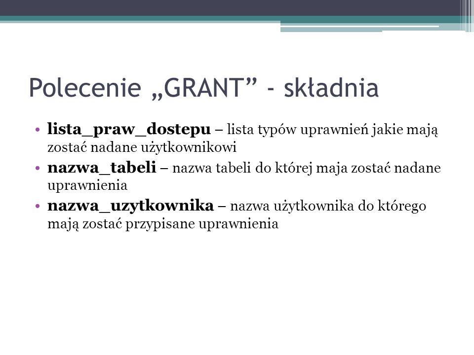 Polecenie GRANT - składnia lista_praw_dostepu – lista typów uprawnień jakie mają zostać nadane użytkownikowi nazwa_tabeli – nazwa tabeli do której maj