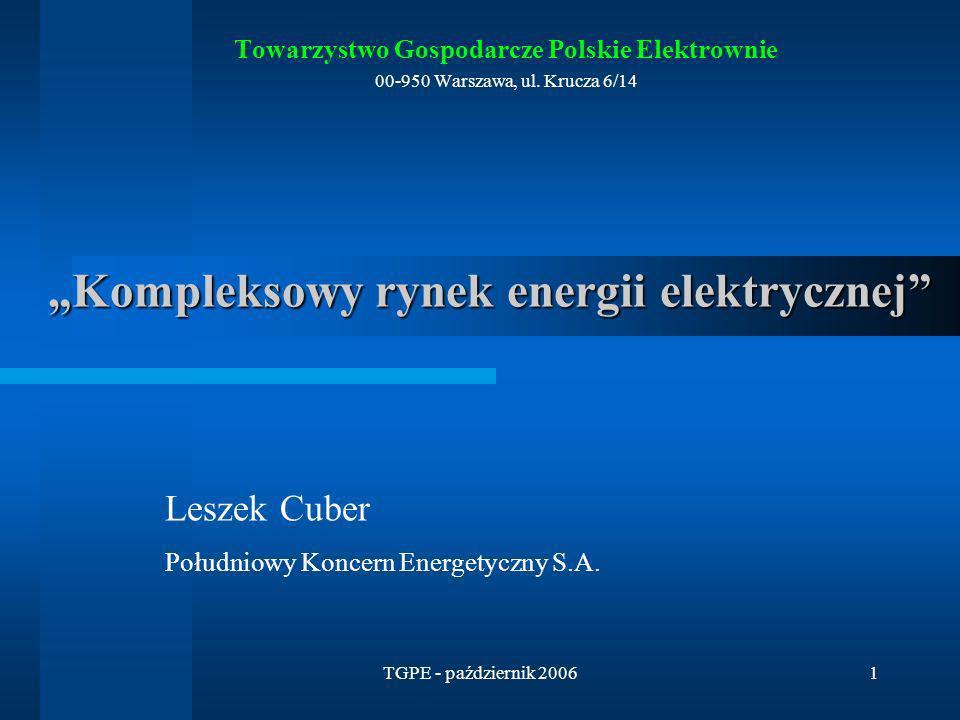 TGPE - październik 200642 Zasady działania ROP (1) Rynek ograniczeń przesyłowych jest wprowadzany w następujący sposób: i.OSP publikuje Plan Koordynacyjny Roczny (PKR) wskazując w nim ograniczenia węzłowe w formie minimalnej ilości jednostek wytwórczych w węzłach oraz minimalnej mocy w węźle – jest to normalne działanie OSP, a PKR jest publikowany raz do roku ii.Następuje wyliczenie wielkości całkowitej energii, jaka jest potrzebna z jednostek pracujących w ograniczeniach iii.Następuje wyliczenie procentowego udziału energii z ograniczeń do całkowitego zapotrzebowania na energię w systemie elektroenergetycznym w tzw.