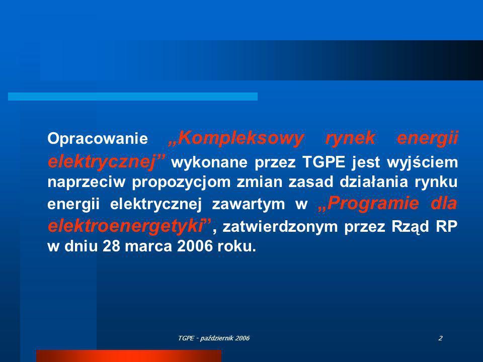 TGPE - październik 200643 Zasady działania ROP (2) v.Nabywcy kupujący energię u wytwórców ustalają (w dyskusji bilateralnej), jaka cześć tej energii jest z ograniczeń i zobowiązują wytwórcę, aby tę informację przekazał OSP vi.Kupując energię z ograniczeń nabywcy nie są ograniczeni terytorialnie - mogą nabywać energię elektryczną ze wszystkich jednostek wytwórczych na terenie całego kraju z listy wskazanej przez OSP vii.Wytwórcy zgłaszając umowy sprzedaży wskazują, jaka część energii sprzedana danemu odbiorcy jest energią z ograniczeń viii.OSP sprawdza czy ograniczenia zostały usunięte poprzez umowy sprzedaży pomiędzy wytwórcami i nabywcami.