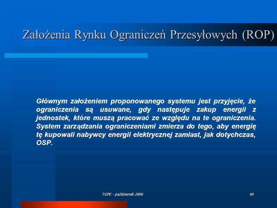 TGPE - październik 200640 Założenia Rynku Ograniczeń Przesyłowych (ROP) Głównym założeniem proponowanego systemu jest przyjęcie, że ograniczenia są us