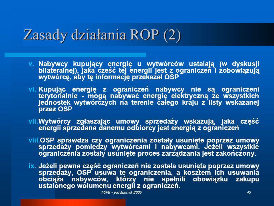TGPE - październik 200643 Zasady działania ROP (2) v.Nabywcy kupujący energię u wytwórców ustalają (w dyskusji bilateralnej), jaka cześć tej energii j
