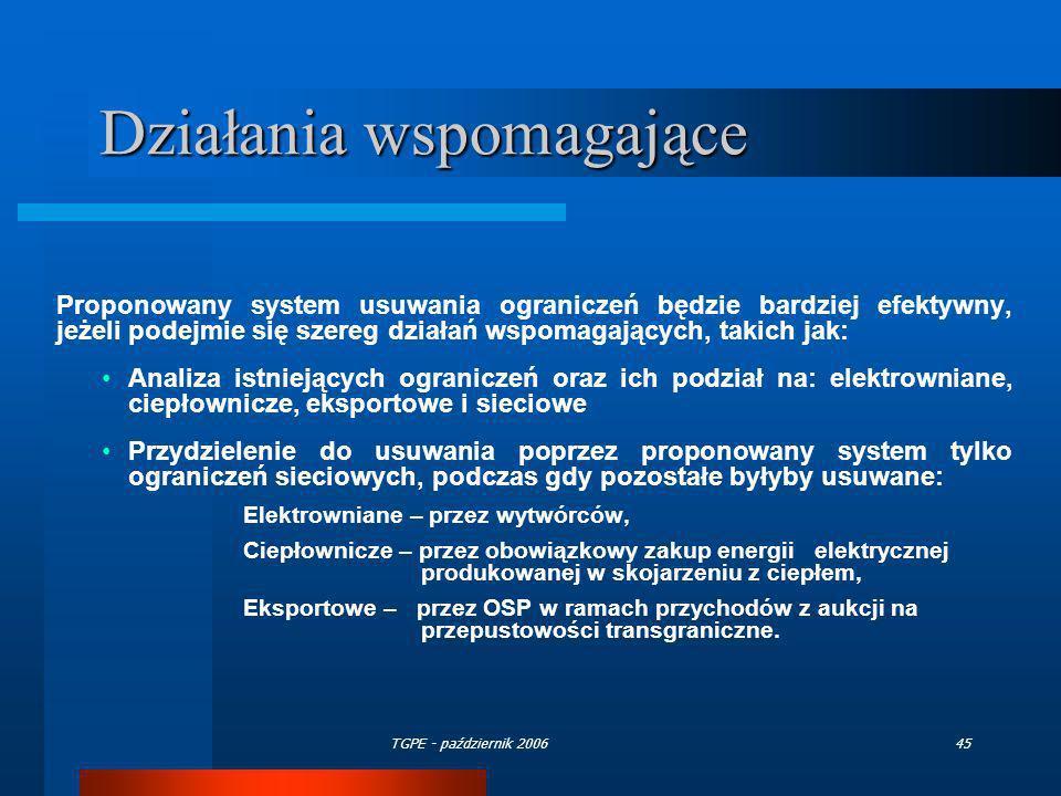 TGPE - październik 200645 Działania wspomagające Proponowany system usuwania ograniczeń będzie bardziej efektywny, jeżeli podejmie się szereg działań