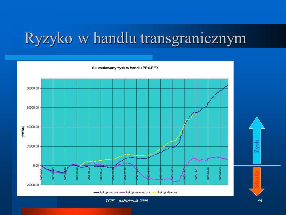 TGPE - październik 200648 Ryzyko w handlu transgranicznym Zysk Strata