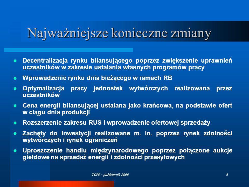 TGPE - październik 20065 Najważniejsze konieczne zmiany Decentralizacja rynku bilansującego poprzez zwiększenie uprawnień uczestników w zakresie ustal