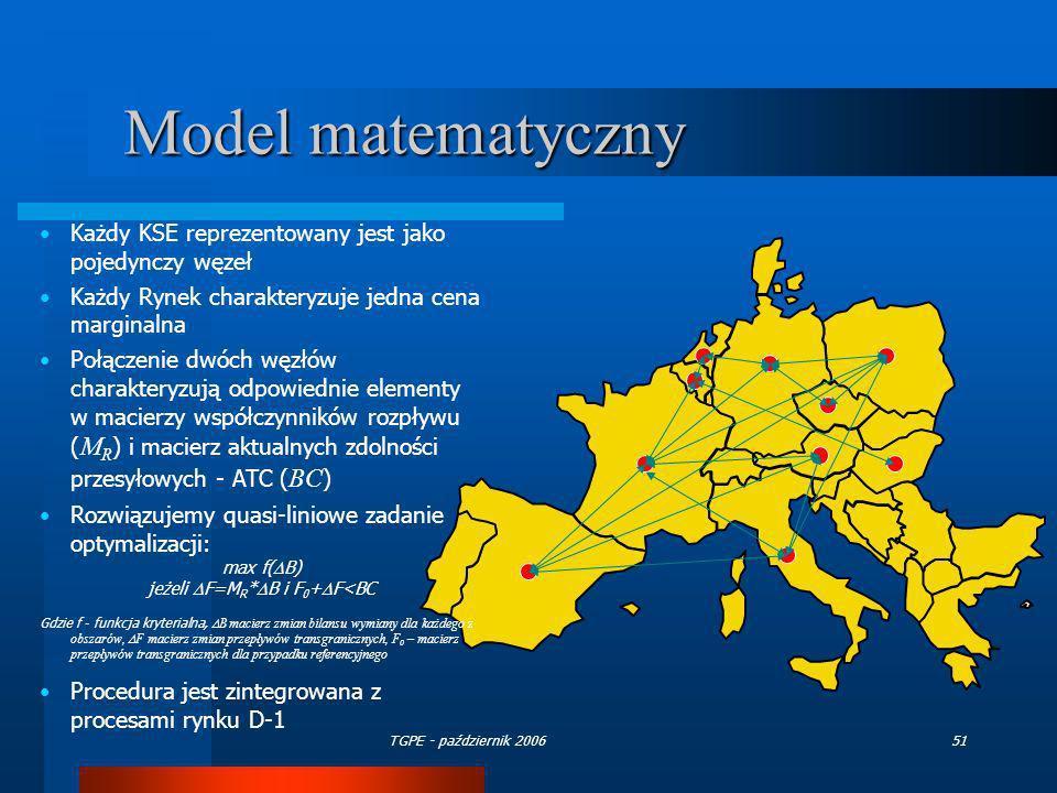 TGPE - październik 200651 Model matematyczny Każdy KSE reprezentowany jest jako pojedynczy węzeł Każdy Rynek charakteryzuje jedna cena marginalna Połą