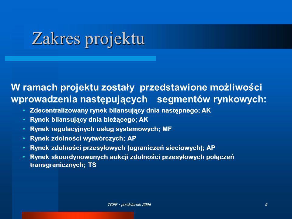 TGPE - październik 20066 W ramach projektu zostały przedstawione możliwości wprowadzenia następujących segmentów rynkowych: Zdecentralizowany rynek bi