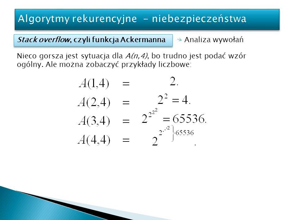 Stack overflow, czyli funkcja Ackermanna Analiza wywołań Nieco gorsza jest sytuacja dla A(n,4), bo trudno jest podać wzór ogólny. Ale można zobaczyć p