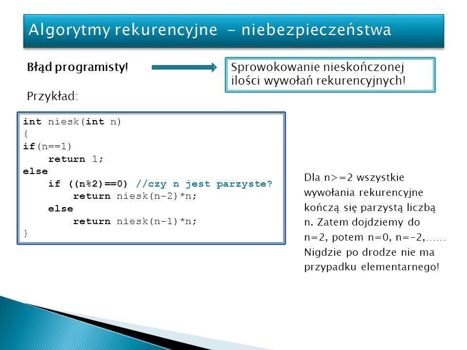 Błąd programisty! Sprowokowanie nieskończonej ilości wywołań rekurencyjnych! Przykład: int niesk(int n) { if(n==1) return 1; else if ((n%2)==0) //czy