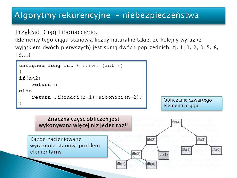 Programy rekurencyjne są zazwyczaj dość pamięciożerne.