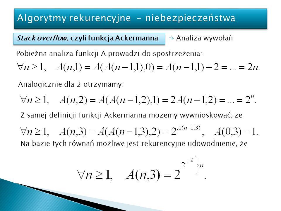 Stack overflow, czyli funkcja Ackermanna Analiza wywołań Pobieżna analiza funkcji A prowadzi do spostrzeżenia: Analogicznie dla 2 otrzymamy: Z samej d