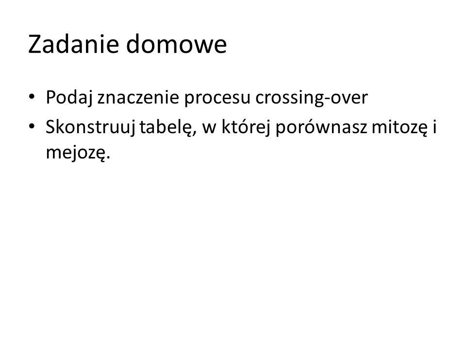 Zadanie domowe Podaj znaczenie procesu crossing-over Skonstruuj tabelę, w której porównasz mitozę i mejozę.