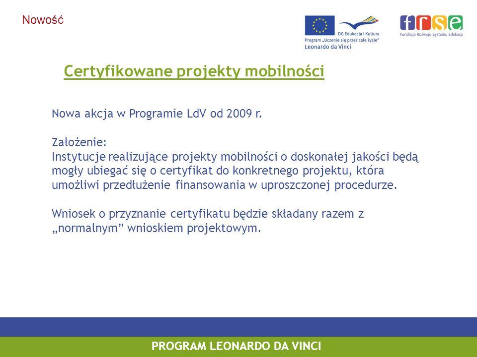 Certyfikowane projekty mobilności Nowa akcja w Programie LdV od 2009 r. Założenie: Instytucje realizujące projekty mobilności o doskonałej jakości będ