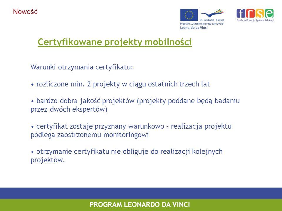 PROGRAM LEONARDO DA VINCI Certyfikowane projekty mobilności Warunki otrzymania certyfikatu: rozliczone min. 2 projekty w ciągu ostatnich trzech lat ba