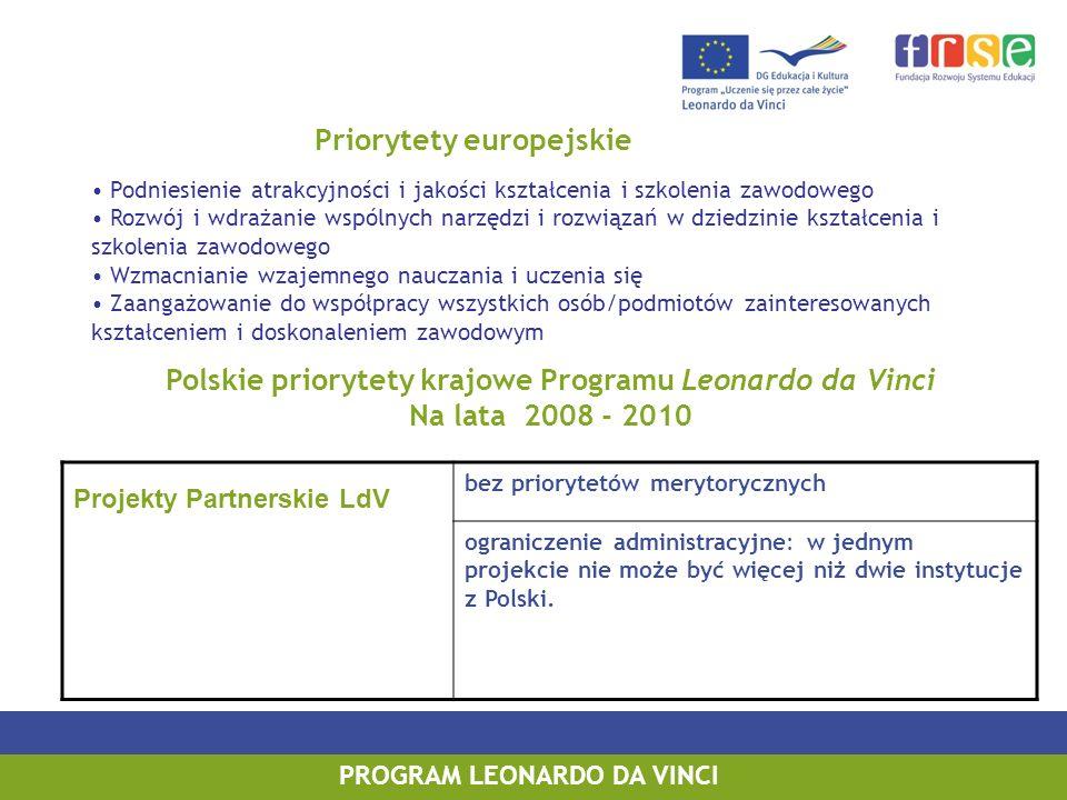 Polskie priorytety krajowe Programu Leonardo da Vinci Na lata 2008 - 2010 Projekty Partnerskie LdV bez priorytetów merytorycznych ograniczenie administracyjne: w jednym projekcie nie może być więcej niż dwie instytucje z Polski.