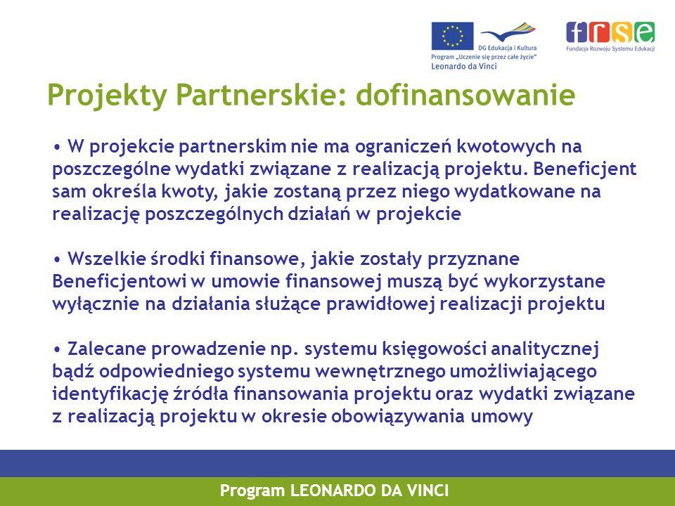 Projekty Partnerskie: dofinansowanie W projekcie partnerskim nie ma ograniczeń kwotowych na poszczególne wydatki związane z realizacją projektu.