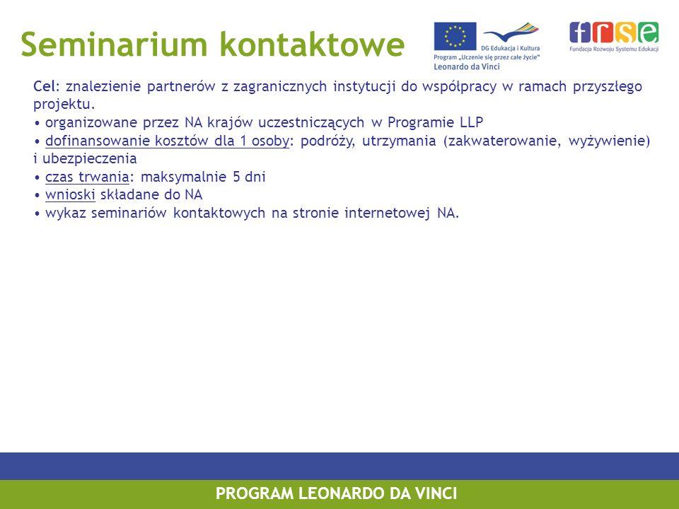 Seminarium kontaktowe Cel: znalezienie partnerów z zagranicznych instytucji do współpracy w ramach przyszłego projektu. organizowane przez NA krajów u