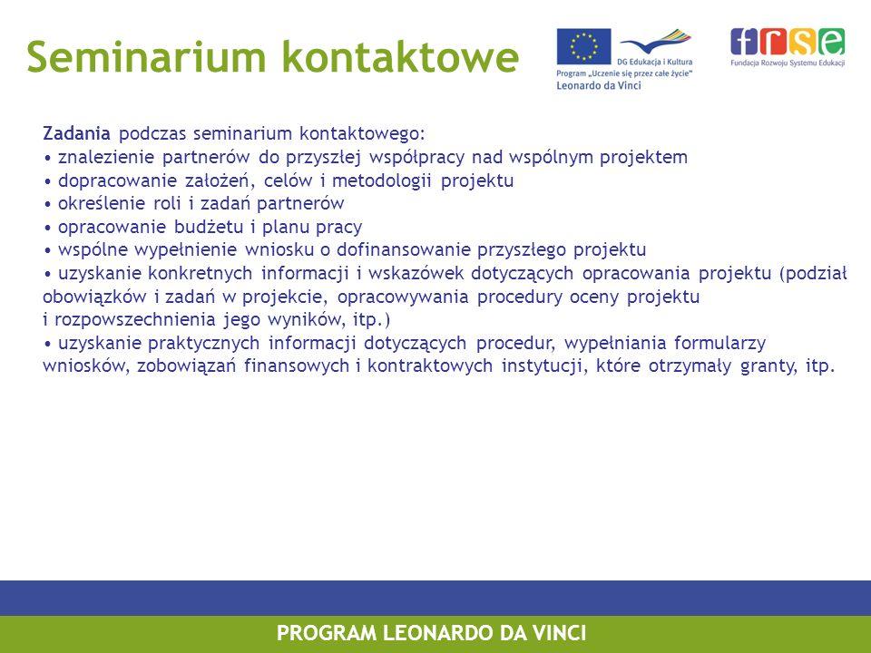Seminarium kontaktowe Zadania podczas seminarium kontaktowego: znalezienie partnerów do przyszłej współpracy nad wspólnym projektem dopracowanie założ