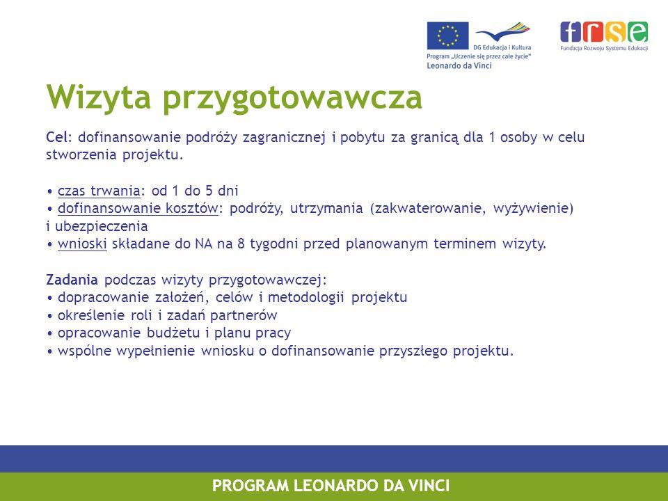 Wizyta przygotowawcza Cel: dofinansowanie podróży zagranicznej i pobytu za granicą dla 1 osoby w celu stworzenia projektu. czas trwania: od 1 do 5 dni