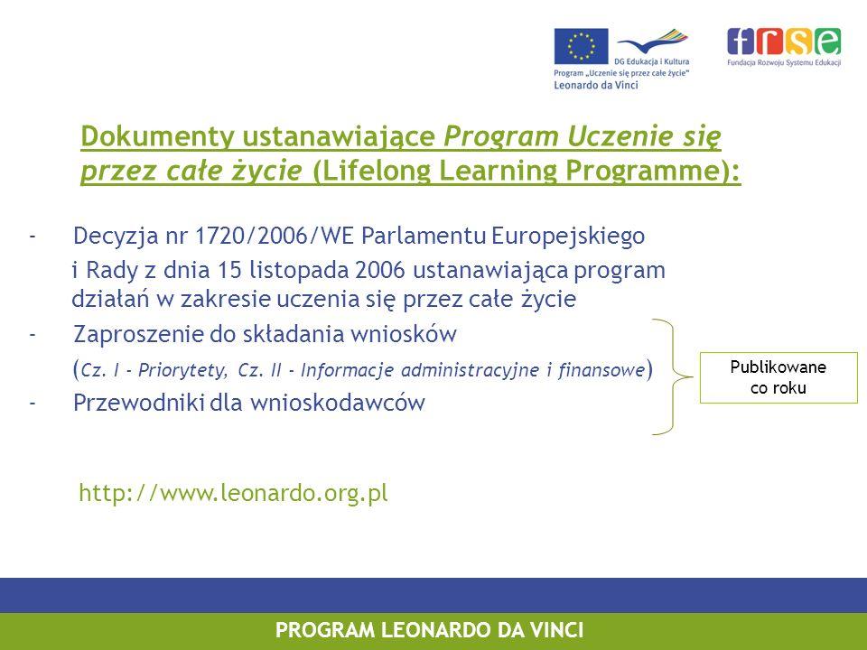 PROGRAM LEONARDO DA VINCI Dokumenty ustanawiające Program Uczenie się przez całe życie (Lifelong Learning Programme): - Decyzja nr 1720/2006/WE Parlam