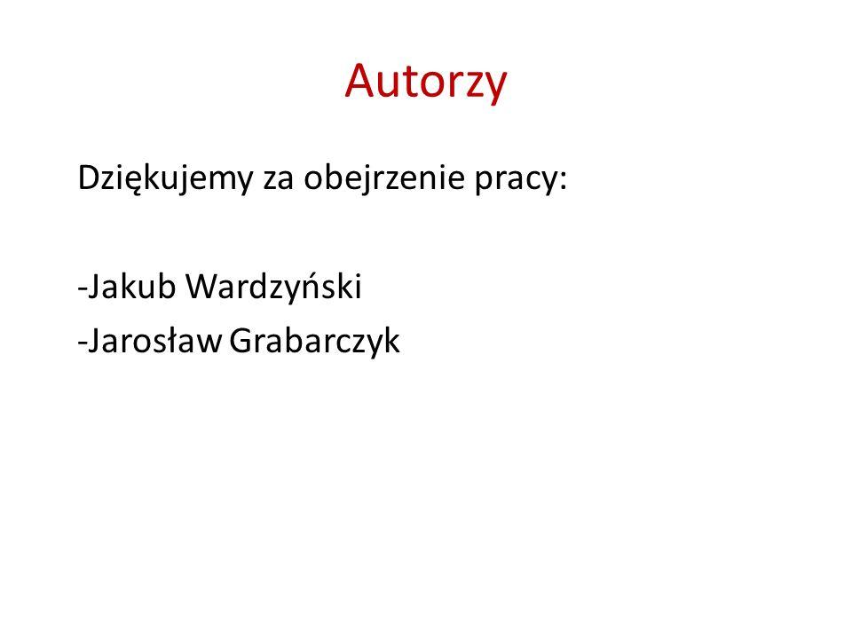 Autorzy Dziękujemy za obejrzenie pracy: -Jakub Wardzyński -Jarosław Grabarczyk