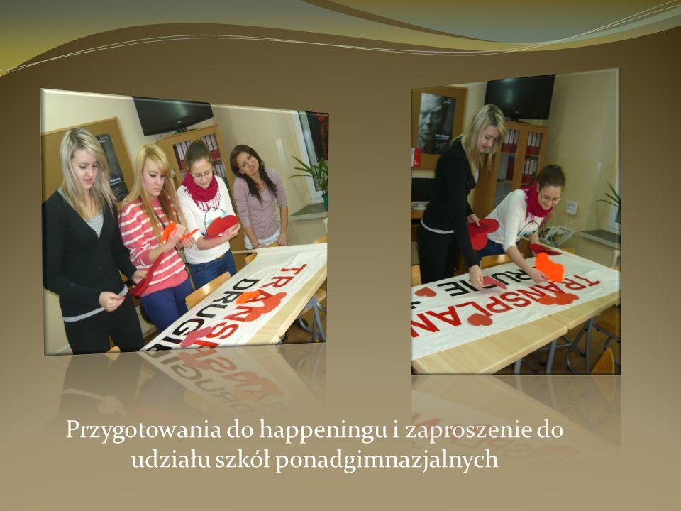 Przygotowania do happeningu i zaproszenie do udziału szkół ponadgimnazjalnych