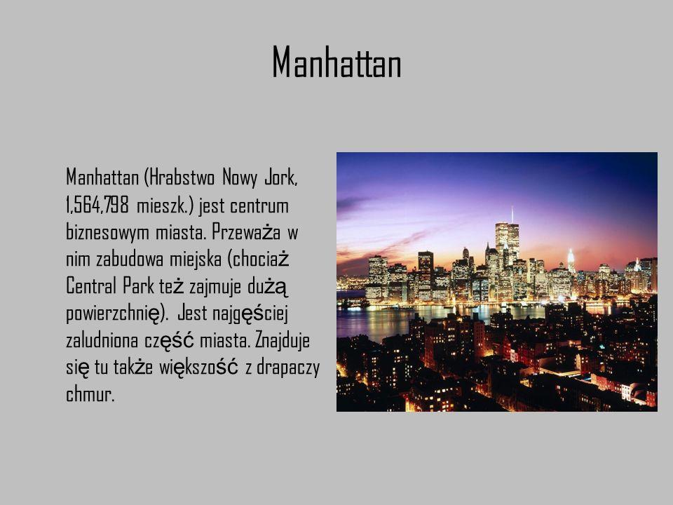 Manhattan Manhattan (Hrabstwo Nowy Jork, 1,564,798 mieszk.) jest centrum biznesowym miasta. Przewa ż a w nim zabudowa miejska (chocia ż Central Park t