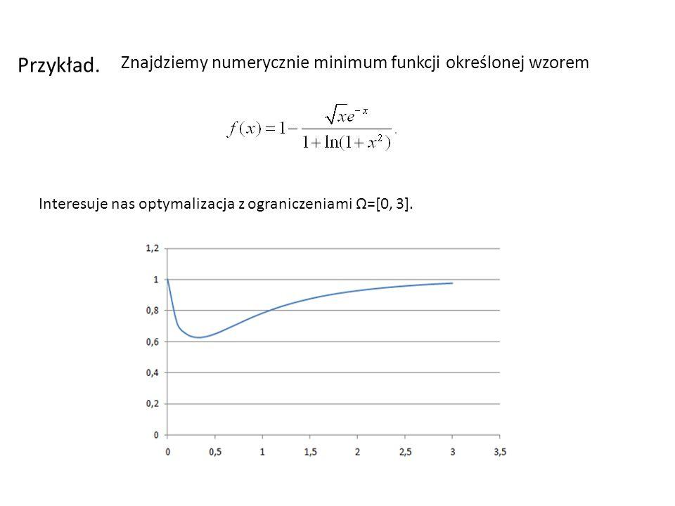 Znajdziemy numerycznie minimum funkcji określonej wzorem Przykład. Interesuje nas optymalizacja z ograniczeniami =[0, 3].