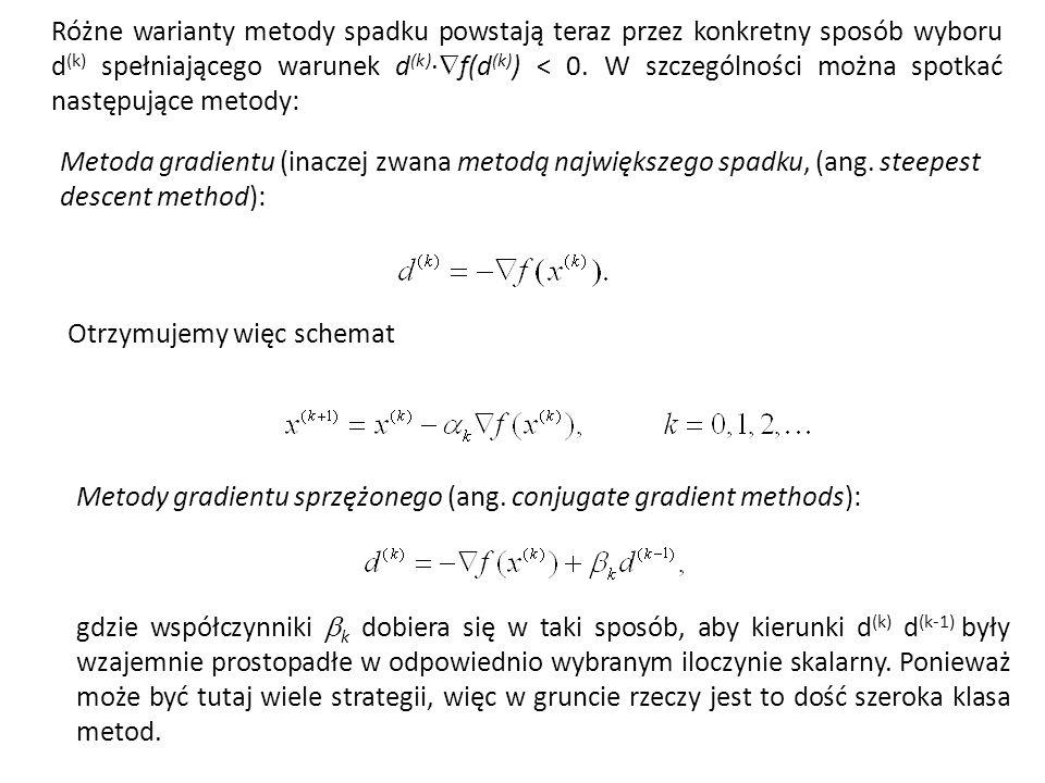 Różne warianty metody spadku powstają teraz przez konkretny sposób wyboru d (k) spełniającego warunek d (k) · f(d (k) ) < 0. W szczególności można spo