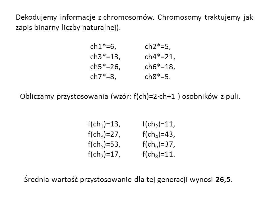 Dekodujemy informacje z chromosomów. Chromosomy traktujemy jak zapis binarny liczby naturalnej). ch1*=6, ch2*=5, ch3*=13, ch4*=21, ch5*=26, ch6*=18, c