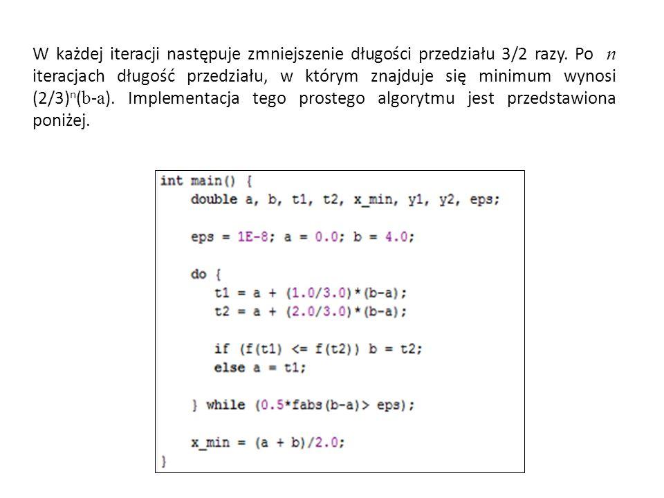 W każdej iteracji następuje zmniejszenie długości przedziału 3/2 razy. Po n iteracjach długość przedziału, w którym znajduje się minimum wynosi (2/3)