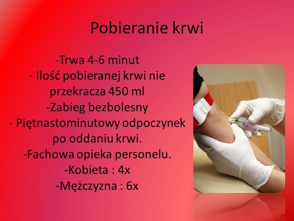 Pobieranie krwi -Trwa 4-6 minut - Ilość pobieranej krwi nie przekracza 450 ml -Zabieg bezbolesny - Piętnastominutowy odpoczynek po oddaniu krwi.