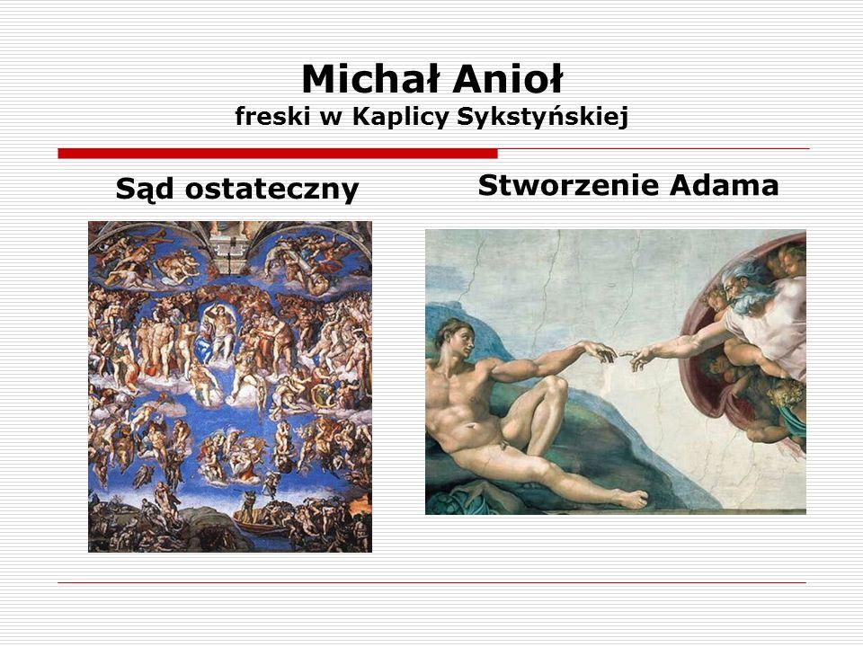 Michał Anioł freski w Kaplicy Sykstyńskiej Sąd ostateczny Stworzenie Adama