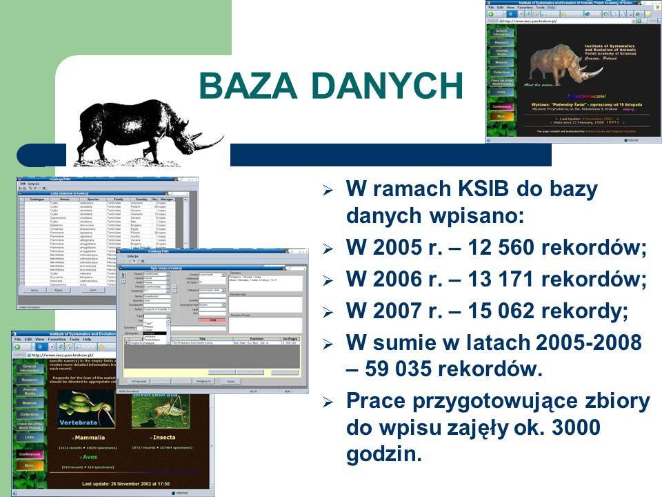 BAZA DANYCH W ramach KSIB do bazy danych wpisano: W 2005 r. – 12 560 rekordów; W 2006 r. – 13 171 rekordów; W 2007 r. – 15 062 rekordy; W sumie w lata