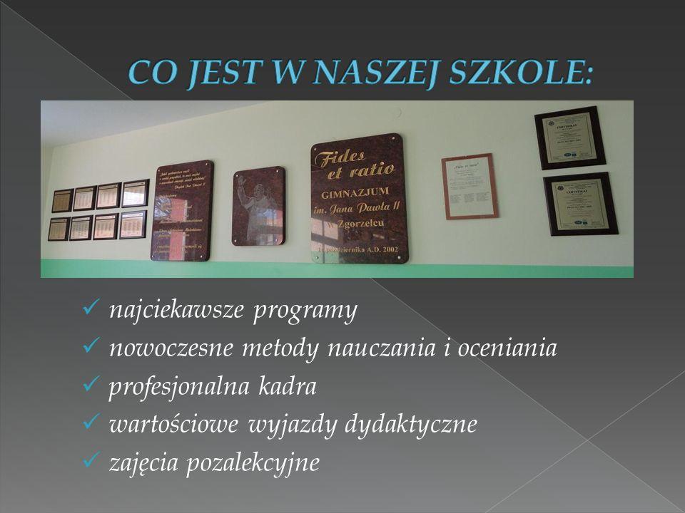najciekawsze programy nowoczesne metody nauczania i oceniania profesjonalna kadra wartościowe wyjazdy dydaktyczne zajęcia pozalekcyjne
