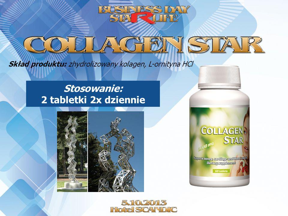 Skład produktu: zhydrolizowany kolagen, L-ornityna HCl Stosowanie: 2 tabletki 2x dziennie