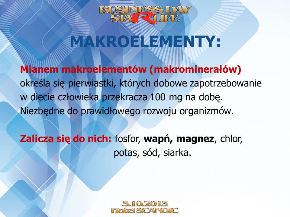 MAKROELEMENTY: Mianem makroelementów (makrominerałów) określa się pierwiastki, których dobowe zapotrzebowanie w diecie człowieka przekracza 100 mg na