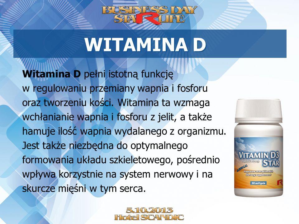 WITAMINA D Witamina D pełni istotną funkcję w regulowaniu przemiany wapnia i fosforu oraz tworzeniu kości. Witamina ta wzmaga wchłanianie wapnia i fos