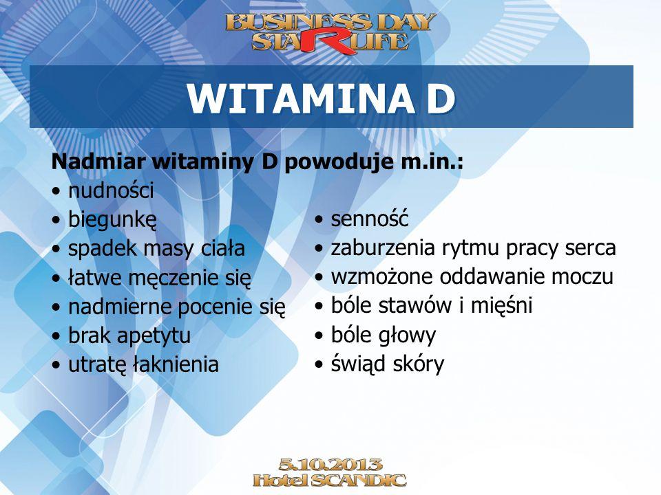 Nadmiar witaminy D powoduje m.in.: nudności biegunkę spadek masy ciała łatwe męczenie się nadmierne pocenie się brak apetytu utratę łaknienia WITAMINA