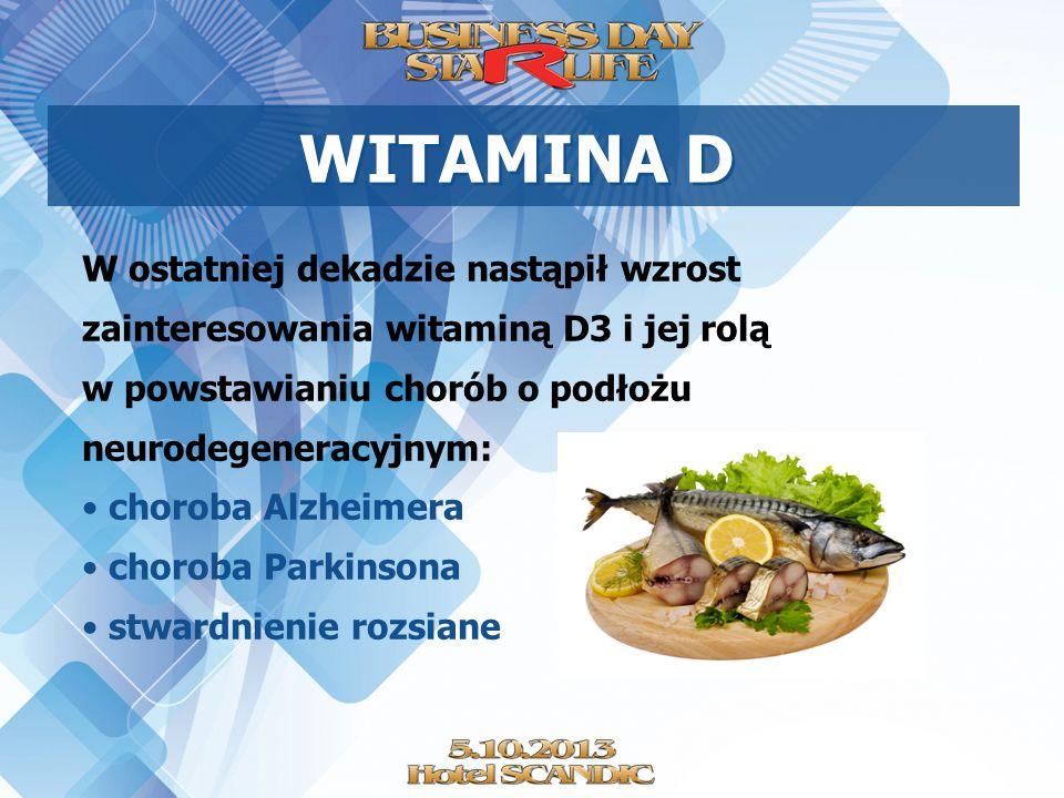 WITAMINA D W ostatniej dekadzie nastąpił wzrost zainteresowania witaminą D3 i jej rolą w powstawianiu chorób o podłożu neurodegeneracyjnym: choroba Al