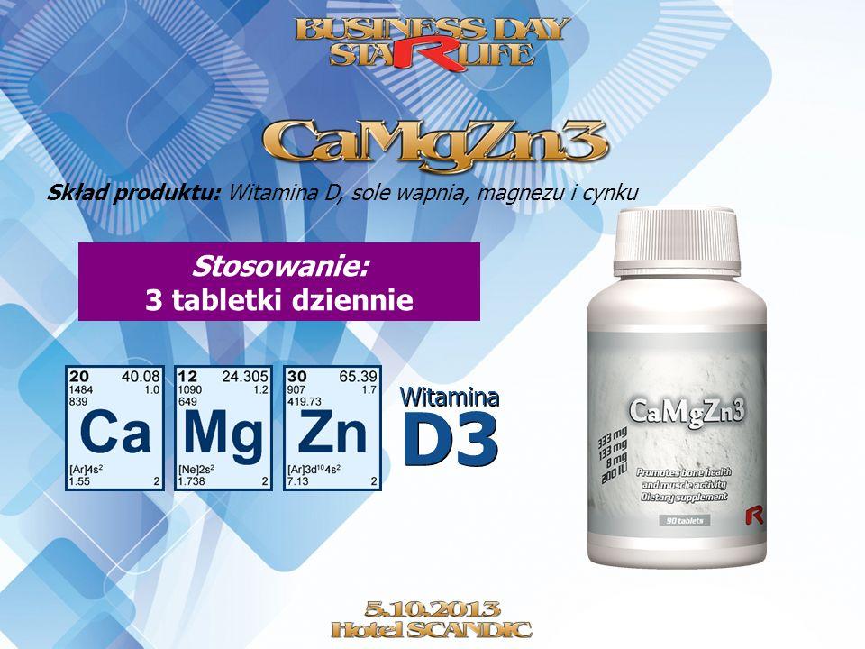 Skład produktu: Witamina D, sole wapnia, magnezu i cynku Stosowanie: 3 tabletki dziennie Witamina D3