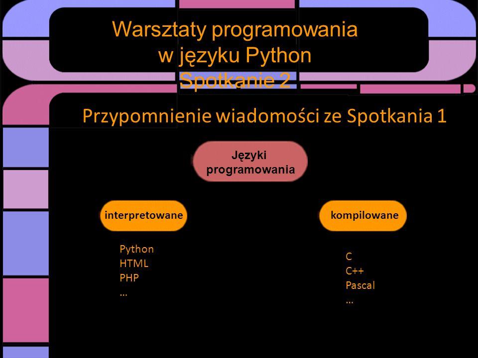 Warsztaty programowania w języku Python Spotkanie 2 Przypomnienie wiadomości ze Spotkania 1 Języki programowania interpretowanekompilowane Python HTML